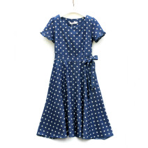 Dress Summer 2020 blue M,L,XL,2XL Mid length dress singleton  Short sleeve commute Crew neck middle-waisted other zipper Big swing routine Type X Other / other Korean version Lace up, printed QX9030 51% (inclusive) - 70% (inclusive) Denim cotton