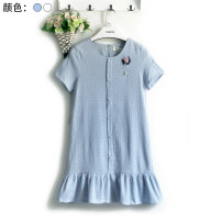 Dress Summer 2016 White, blue S,M,L Short skirt singleton  Short sleeve commute Crew neck Loose waist Solid color zipper Ruffle Skirt routine Type A Korean version Flounce, hollow out, embroidery, three-dimensional decoration YH6203 31% (inclusive) - 50% (inclusive) cotton