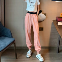 Casual pants Pink pants, grey pants Average size Summer 2020 Ninth pants Overalls High waist Versatile routine 18-24 years old 71% (inclusive) - 80% (inclusive) Other / other other