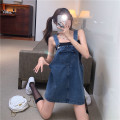 Dress Summer 2021 Suspender skirt , black vest Average size Short skirt Two piece set Sleeveless Sweet Crew neck High waist Solid color Socket A-line skirt other straps 18-24 years old Type A Other / other Pocket, strap More than 95% Denim cotton college