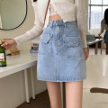 skirt Summer 2021 S,M,L blue Short skirt commute High waist A-line skirt Solid color Type A 18-24 years old 71% (inclusive) - 80% (inclusive) Denim Other / other pocket Korean version