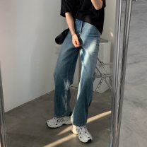 Jeans Spring 2021 blue S,M,L trousers High waist Straight pants routine 2020.2.24