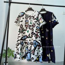 Dress Spring 2021 White print, blue print Average size Mid length dress Short sleeve