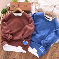 Sweater / sweater Fat dad's house Navy, khaki, denim blue, iron gray, thickened all in one Velvet - Navy, thickened all in one Velvet - cow blue, thickened all in one Velvet - iron gray male spring and autumn nothing Simplicity Socket routine No model cotton Solid color
