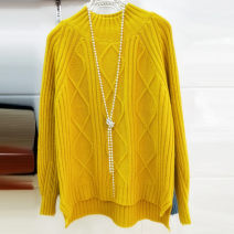 Wool knitwear Spring of 2019 S,M,L,XL,2XL Yellow, khaki, blue, pink, beige Long sleeves singleton  Socket other 31% (inclusive) - 50% (inclusive) have cash less than that is registered in the accounts thick commute easy Half height crew neck routine Solid color Socket Korean version Asymmetry