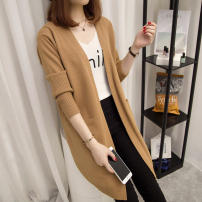 Wool knitwear Autumn of 2019 S,M,L,XL,2XL Black, apricot, khaki, grey coffee Long sleeves singleton  Cardigan other 51% (inclusive) - 70% (inclusive) Medium length routine commute easy V-neck Solid color Korean version pocket