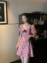 Dress Spring 2021 Zhizhi Raspberry S,M,L Short skirt singleton  Short sleeve commute V-neck High waist puff sleeve Others 25-29 years old Type A Retro