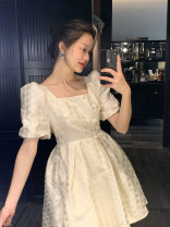 Dress Spring 2021 Belle sweet rice white [double wear], Belle sweet black [double wear] S,M,L Short skirt singleton  Short sleeve commute square neck High waist puff sleeve Others 25-29 years old Type A Retro