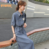 Dress Summer 2021 Denim blue S,M,L,XL,2XL Mid length dress singleton  Short sleeve Polo collar middle-waisted double-breasted A-line skirt routine Type X Kymtal w21040604w More than 95% cotton