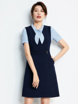 Dress Summer 2021 Shirt, dress, skirt, shirt + dress, shirt + skirt XS,S,M,L,XL,XXL,XXXL,4XL longuette Two piece set Short sleeve commute V-neck middle-waisted Solid color Socket A-line skirt routine straps 25-29 years old Type A PGI Korean version Splicing PL00015 71% (inclusive) - 80% (inclusive)