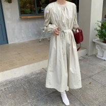Women's large Autumn 2020 Apricot, Khaki S,M,L,XL Dress singleton  commute Self cultivation moderate Socket Long sleeves Solid color Korean version Crew neck puff sleeve SS-2952 18-24 years old Bandage longuette other