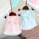 Pet clothing / raincoat currency Dress XS SMALL (about 4 kg), s small (about 7 kg), M Medium (about 10 kg), L large (about 13 kg) Pet gege princess Blue sunflower dog dress, pink sunflower dog dress cotton