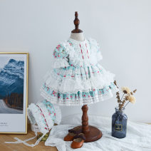 Dress Cyan, turquoise female Other / other 80cm,90cm,100cm,110cm,120cm,130cm Cotton 100% summer Britain Short sleeve Broken flowers Pure cotton (100% cotton content) Cake skirt Class B 10 years old Chinese Mainland