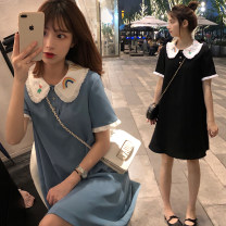 Women's large Spring 2021 Black blue M [collection and purchase] l [priority delivery] XL [quality assurance] 2XL [no body selection] 3XL [shopping worry free] 4XL [support return] 5XL [quick delivery from stock] Dress singleton  commute easy thin Socket Short sleeve Korean version other routine bow