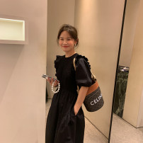 Dress Spring 2021 black , Black is expected to be issued within 10 working days , Black is expected to be issued within 15 working days XS,S,M,L longuette Short sleeve commute Crew neck Solid color puff sleeve 25-29 years old Other / other L2886 More than 95% cotton