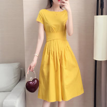 Dress Summer 2021 canary yellow S M L XL XXL Mid length dress singleton  Short sleeve commute Crew neck High waist Solid color zipper Big swing routine Others 25-29 years old Type A Audubon / Audubon Korean version More than 95% other other Other 100% Pure e-commerce (online only)