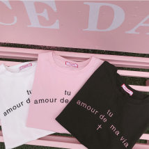 T-shirt Light pink white black S M Summer of 2018 Short sleeve Crew neck easy Regular routine Sweet cotton 96% and above 18-24 years old classic letter Conybabe T5014 Embroidery solar system