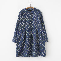 Dress Winter 2016 Small color fish with Tibetan green bottom Average size Middle-skirt singleton  Long sleeves commute stand collar Loose waist Broken flowers Socket A-line skirt routine Type A Retro printing 71% (inclusive) - 80% (inclusive) other cotton