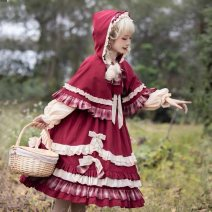 Dress Winter 2020 Long sleeve dress, one piece Cape + headdress S,M,L longuette singleton  Long sleeves Sweet Crew neck High waist Solid color Socket Pleated skirt routine Others 18-24 years old Type A Splicing 31% (inclusive) - 50% (inclusive) polyester fiber Lolita