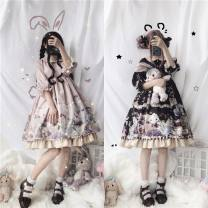 Dress Summer of 2019 Blue, pink S,M,L Middle-skirt singleton  Short sleeve Sweet Doll Collar middle-waisted Decor zipper Princess Dress routine Others Type X Bows, ruffles, straps, buttons, prints nylon Lolita