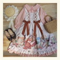 Dress Autumn of 2018 Picnic jsk, pink inside S,M,L Mid length dress Two piece set Nine point sleeve Sweet Polo collar High waist Cartoon animation Socket Princess Dress puff sleeve Others Bow, ruffle, print cotton Lolita