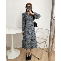 Dress Spring 2021 Blue, purple Average size Mid length dress singleton  Long sleeves commute Korean version 51% (inclusive) - 70% (inclusive) cotton
