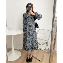 Dress Spring 2021 Blue, purple Average size Mid length dress singleton  Long sleeves commute Korean version 51% (inclusive) - 70% (inclusive) cotton