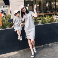 Parent child fashion Light grey, white A family of three female summer motion Thin money Solid color skirt cotton Other 100% Class B 12 months, 18 months, 2 years old, 3 years old, 4 years old, 5 years old, 6 years old, 7 years old, 8 years old, 9 years old, 10 years old, 11 years old, 12 years old