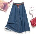 skirt Summer 2015 One size fits all (spot sales) Light blue, dark blue longuette Sweet Princess Dress Solid color 51% (inclusive) - 70% (inclusive) Denim cotton Button, stitching, lace Mori