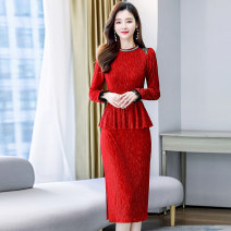 Dress / evening wear Weddings, adulthood parties, company annual meetings, daily appointments M L XL XXL Red and black fashion Medium length middle-waisted Spring 2021 A-line skirt U-neck zipper MJQY21X-0106-01 Long sleeves Solid color Meng Jia Xian Yi routine Polyester 100%