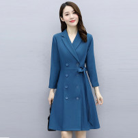 Dress Autumn 2020 Black coffee peacock blue M L XL XXL Mid length dress singleton  Long sleeves commute square neck middle-waisted Solid color zipper A-line skirt routine 30-34 years old Meng Jia Xian Yi Korean version Frenulum MJQY20X-0819-02 More than 95% polyester fiber Polyester 100%