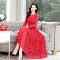 Dress / evening wear Weddings, adulthood parties, company annual meetings, daily appointments M L XL XXL Red black blue Korean version Medium length middle-waisted Spring 2020 A-line skirt U-neck Hollowing out 26-35 years old MJQY20CM211 Long sleeves Embroidery Solid color Meng Jia Xian Yi routine