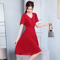 Dress / evening wear Weddings, adulthood parties, company annual meetings, daily appointments M L XL XXL Red pink purple fashion Medium length middle-waisted Summer 2021 Self cultivation Deep collar V zipper MJQY21X-0319-14 Short sleeve Solid color Meng Jia Xian Yi routine Polyester 100%