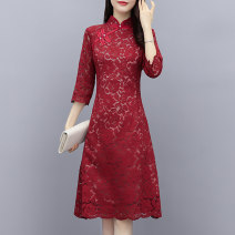 Dress / evening wear Weddings, adulthood parties, company annual meetings, daily appointments M L XL XXL XXXL claret Retro Medium length middle-waisted Autumn 2020 Self cultivation MJQY20X - 0810 - eleven Long sleeves Solid color Meng Jia Xian Yi routine Polyester 100% Pure e-commerce (online only)