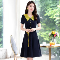 Dress Summer 2020 M L XL XXL XXXL Mid length dress singleton  Short sleeve commute Doll Collar middle-waisted Solid color Socket A-line skirt routine Others 25-29 years old Type A Meng Jia Xian Yi literature Pleated stitching More than 95% Chiffon polyester fiber Polyester 100%