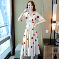 Dress Summer 2020 White background red dot white background black dot black background white dot M L XL XXL Mid length dress singleton  Short sleeve commute V-neck middle-waisted Solid color A-line skirt routine 25-29 years old Meng Jia Xian Yi Korean version printing MJQY20X-0414-12 More than 95%
