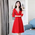 Dress / evening wear Weddings, adulthood parties, company annual meetings, daily appointments M L XL XXL Black Royal Blue scarlet princess Medium length middle-waisted Spring 2021 A-line skirt Deep collar V zipper MJQY21X-0226-05 three quarter sleeve Solid color Meng Jia Xian Yi routine