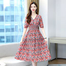 Dress Summer 2021 Red orange M L XL XXL Mid length dress singleton  Short sleeve commute V-neck middle-waisted Broken flowers Socket Big swing routine Others 25-29 years old Type A Meng Jia Xian Yi Korean version Pleated printing MJQY21X-0317-01 More than 95% Chiffon polyester fiber Polyester 100%