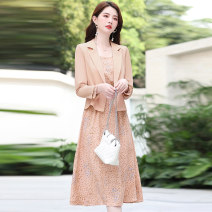 Dress Autumn 2020 White Black Pink deep orange M L XL XXL Mid length dress Two piece set Long sleeves commute Crew neck middle-waisted Decor Socket A-line skirt routine Others 25-29 years old Type A Meng Jia Xian Yi lady Pleated fold MJQY20X-0813-01 More than 95% Chiffon polyester fiber