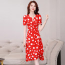 Dress Summer 2020 Black red white green navy blue M L XL XXL XXXL Mid length dress singleton  Short sleeve commute V-neck middle-waisted Dot Socket A-line skirt routine Others 25-29 years old Type A Meng Jia Xian Yi lady Pleated printing MJQY20X-0508-06 More than 95% Chiffon polyester fiber