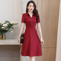 Dress / evening wear Weddings, adulthood parties, company annual meetings, daily appointments M L XL XXL Korean version Medium length middle-waisted Summer 2020 Self cultivation Short sleeve Solid color Meng Jia Xian Yi routine Polyester 100% Pure e-commerce (online only)