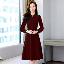 Dress / evening wear Weddings, adulthood parties, company annual meetings, daily appointments M L XL XXL Jujube camel denim fashion Medium length middle-waisted Spring 2021 A-line skirt U-neck zipper 26-35 years old MJQY21X-0311-15 Long sleeves Solid color Meng Jia Xian Yi routine Polyester 100%