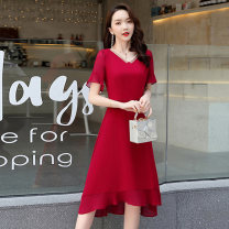 Dress / evening wear Weddings, adulthood parties, company annual meetings, daily appointments M L XL XXL Red and black fashion Medium length middle-waisted Summer 2020 fish tail U-neck zipper 18-25 years old Short sleeve Solid color Meng Jia Xian Yi routine Polyester 100%