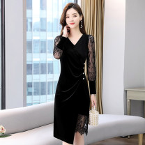Dress / evening wear Weddings, adulthood parties, company annual meetings, daily appointments M L XL XXL XXXL black fashion Medium length middle-waisted Winter 2020 A-line skirt U-neck Hollowing out 36 and above MJQY20X-1226-06 Long sleeves Solid color Meng Jia Xian Yi routine Polyester 100%