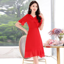 Dress / evening wear Weddings, adulthood parties, company annual meetings, daily appointments M L XL XXL Blue black scarlet Sweet Medium length middle-waisted Summer 2020 A-line skirt Deep collar V zipper 18-25 years old MJQY20X-0427-05 Short sleeve Solid color Meng Jia Xian Yi Lotus leaf sleeve