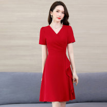 Dress / evening wear Weddings, adulthood parties, company annual meetings, daily appointments M L XL XXL XXXL Red yellow denim blue Zhangqing fashion Medium length middle-waisted Summer 2020 A-line skirt Deep collar V zipper 18-25 years old MJQY20X-0616-04 Short sleeve Solid color Meng Jia Xian Yi