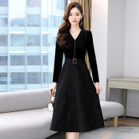 Dress / evening wear Weddings, adulthood parties, company annual meetings, daily appointments M L XL XXL XXXL black princess Medium length middle-waisted Winter 2020 A-line skirt U-neck zipper 26-35 years old MJQY20X-1226-07 Long sleeves Solid color Meng Jia Xian Yi routine Polyester 100%