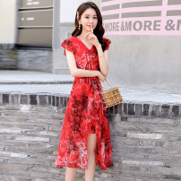 Dress Summer 2020 M L XL XXL XXXL Middle-skirt singleton  Short sleeve commute V-neck middle-waisted Solid color zipper Big swing routine 40-49 years old Meng Jia Xian Yi Korean version More than 95% Chiffon polyester fiber Polyester 100% Pure e-commerce (online only)