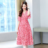 Dress Summer 2021 Red and white M L XL XXL Middle-skirt singleton  Short sleeve commute V-neck middle-waisted Broken flowers Socket routine Others 25-29 years old Type A Meng Jia Xian Yi Korean version Pleated printing MJQY21X-0317-03 More than 95% Chiffon polyester fiber Polyester 100%
