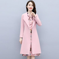 Dress Autumn 2020 Blue Black Pink M L XL XXL Mid length dress Two piece set Long sleeves commute tailored collar middle-waisted Solid color zipper Big swing routine 25-29 years old Meng Jia Xian Yi Korean version Bandage 3D MJQY20X-0831-09 More than 95% polyester fiber Polyester 100%
